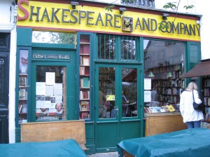(Me) Browsing Outside Shakespeare and Co.  3 Sept 3008