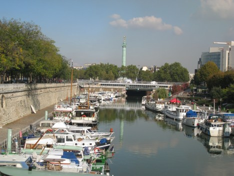 Pleasure Boats in Port de Plaisance, looking towards Place de la Bastille