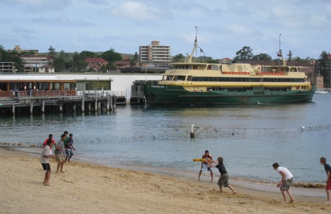 Cricket on the Beach, Manly Wharf, Sydney Harbour