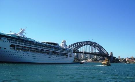 Cruise Ship, Harbour Bridge, and Passenger Ferry, Sydney Harbour