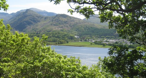 Llyn (Lake) Padarn, Llanberis, and Snowdon Range