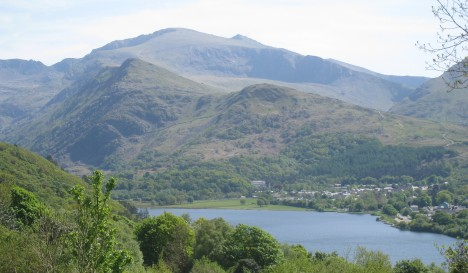 View across Llyn Padarn, Llanberis, and Snowdon Range
