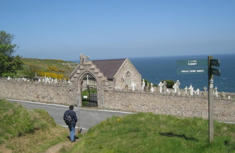 Clive approaching St. Tudno's Church, Great Orme