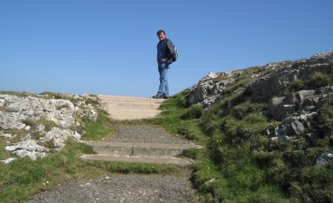 Clive at top of gravel steps, Great Orme