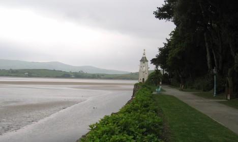 Portmeirion path, estuary of River Dwyryd, Gwynedd