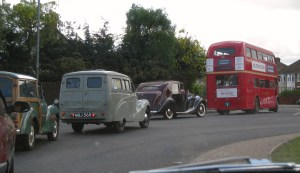 Classic cars on their way from Ipswich to Felixstowe