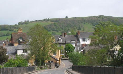 Road into Hay-on-Wye, Wales