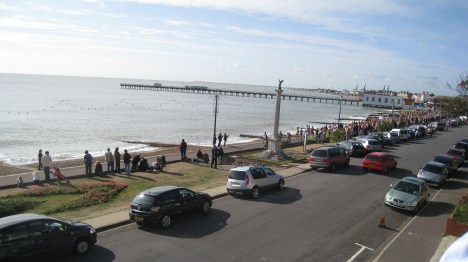South from the balcony, start of Felixstowe half-marathon