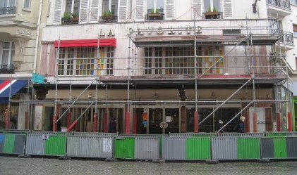 Café behind scaffolding today