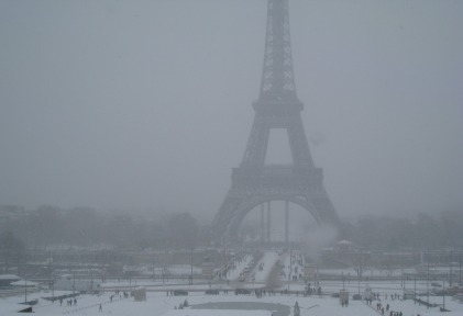 Eiffel Tower & Champs de Mars shrouded in snow