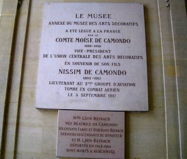 Bottom museum plaque includes: 'Béatrice de Camondo her children Fanny and Bertrand Reinach the last descendants of the benefactor and Mr Léon Reinach were deported in 1943-1944 and died in Auschwitz'