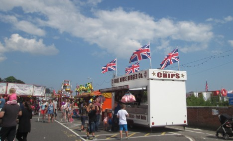 Chip stand & UK flags, Felixstowe Carnival weekend