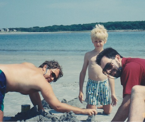 Gary (on left) making sand castles with his sons, Maine, August 1992