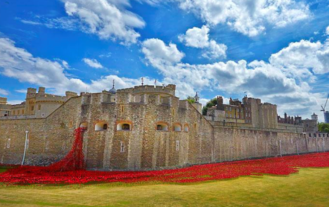 'Blood Swept Lands and Seas of Red' poppy exhibition (photo @HRP_Palaces Tower of London)