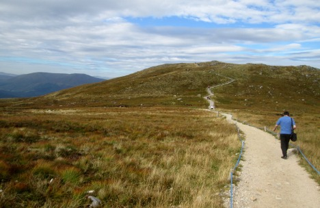 A Highland walk - Clive on the footpath, Aonoch Mor, Scotland