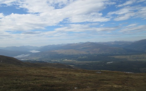 A Highland walk - view of Loch Linnhe & Fort William on left, from Aonach Mor, Scotland
