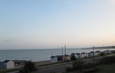 Felixstowe beach huts & North Sea