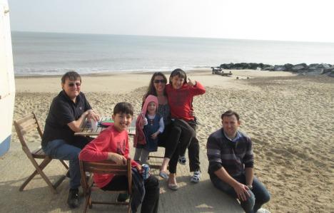 Family at the beach, Felixstowe