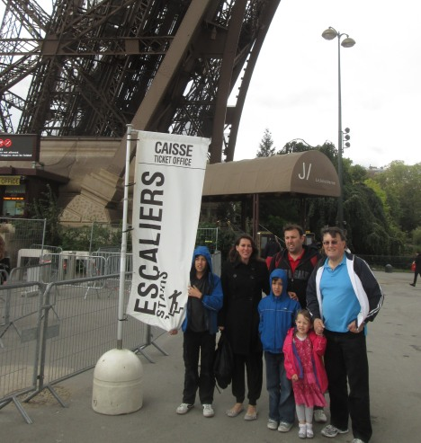 About to go up the Eiffel Tower, Paris