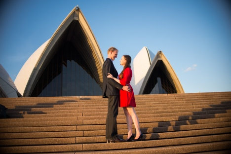 My son and his fiancée, newly-engaged in Sydney