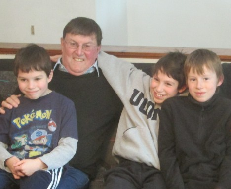 Clive & my stepson's boys, Connecticut, February 2014