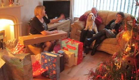 Opening presents on Christmas Day