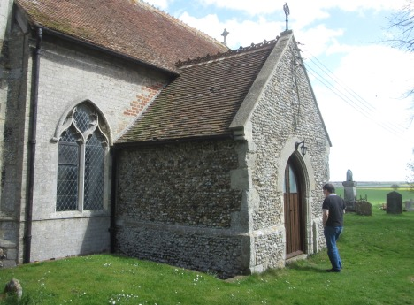 Clive checking out the side doors, St Ethelbert's