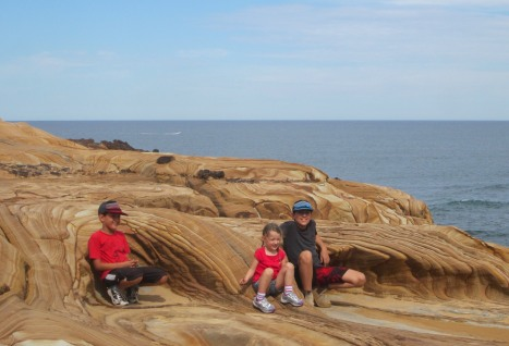 Great young walkers on tessellated pavements, Bouddi National Park, Australia