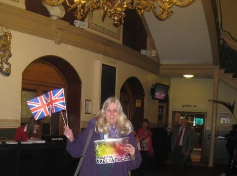 Waving the UK flag at Royal Albert Hall
