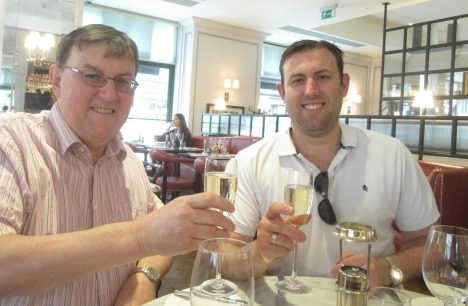 Champagne toast to father & son
