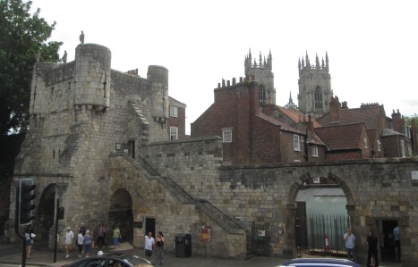 Bootham Bar, a 'gate' into York's old city, with steps up to the ancient wall