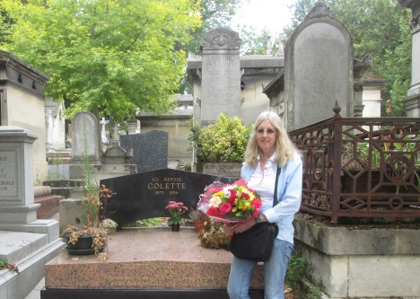 with flowers for Lisa at Père Lachaise cemetery