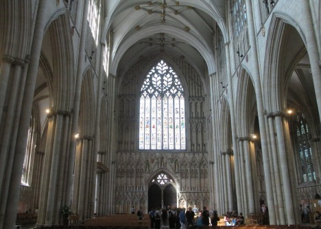 West window of York Minster, a place of worship and peace