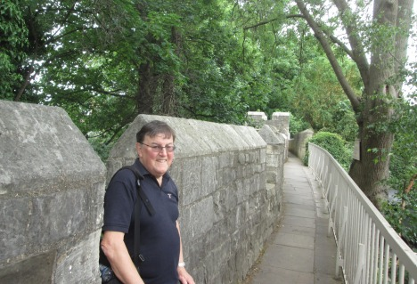Clive on the York city wall between Bootham Bar & Monk Bar