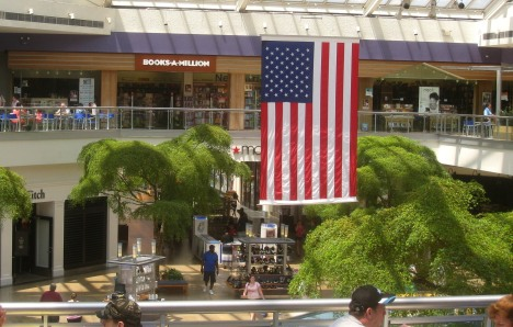 American flag at Paramus Park mall, New Jersey