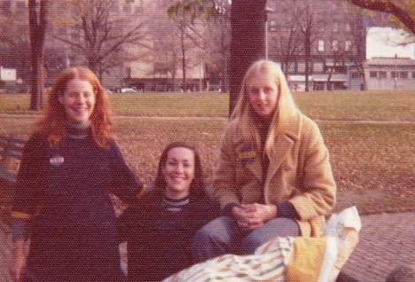 women young, photo aged -- Laurie on left, Boston Common, 1975