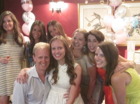 Bride-to-be with her groom and gorgeous bridesmaids