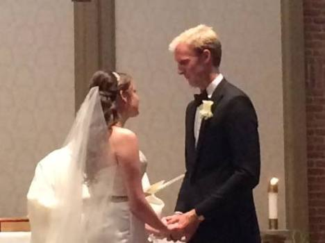 My son and his bride exchanging wedding vows