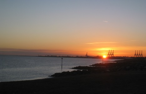 November sunset, Felixstowe