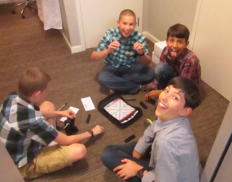 Playing games in our hotel room