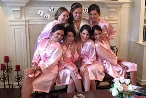 Wedding morning bride and bridesmaids