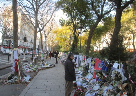 Memorials across the street from the Bataclan, Paris
