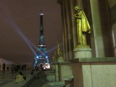 Eiffel Tower & green spotlights, Paris