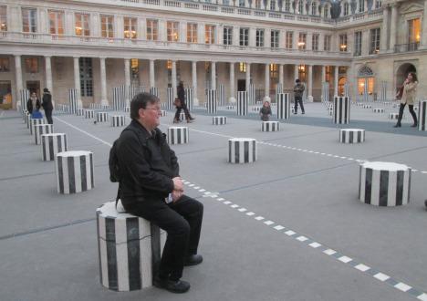 Clive pausing for a moment at the Buren Columns, Palais Royal, Paris