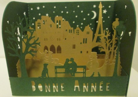 Bonne Année small fold-out card from Paris