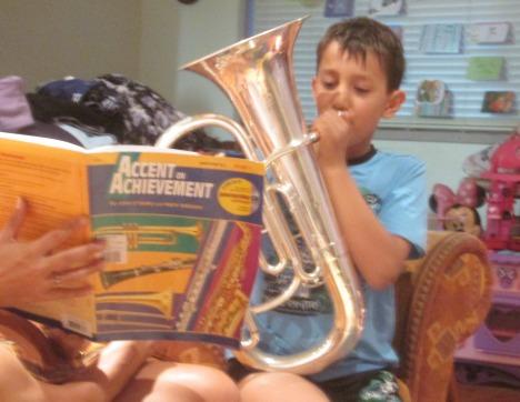 Playing the euphonium