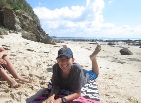 Older grandson (wearing his US Pentagon cap) on the beach