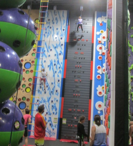 Five year-old at top of climbing wall