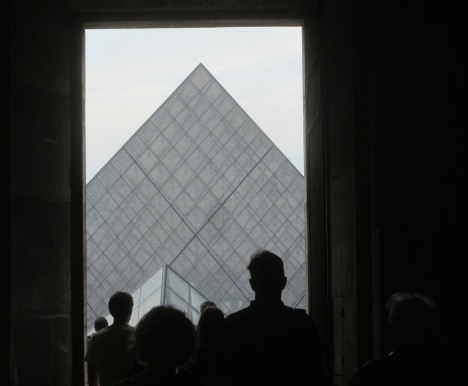 Silhouette of the Louvre Pyramid from Cour Carrée