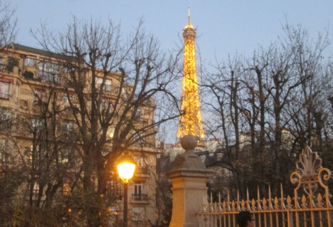 Through the trees: view of the Eiffel Tower, December 2015